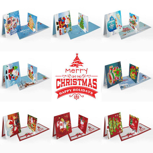 Diamond Painting Christmas 3D Cards with Insert Kit (2) - Set of 8  150 x 150mm
