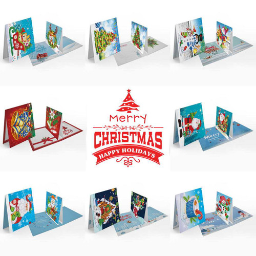 Diamond Painting Christmas 3D Card with Insert - Set of 8  150 x 150mm