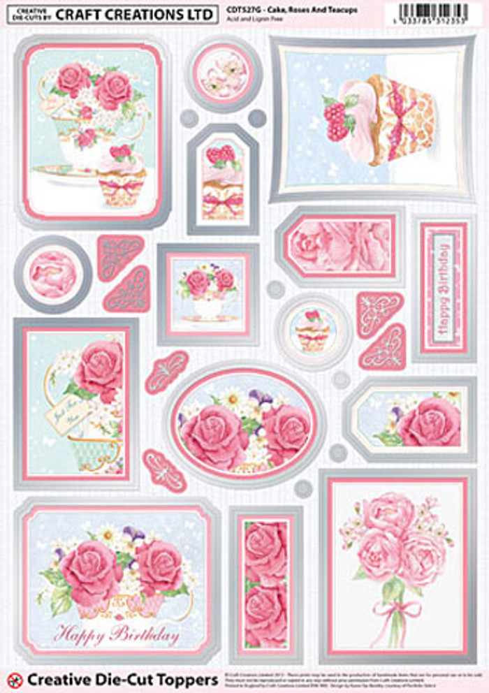Craft Creations A4 Die-Cut Topper Sheet - Cake Roses & Teacups