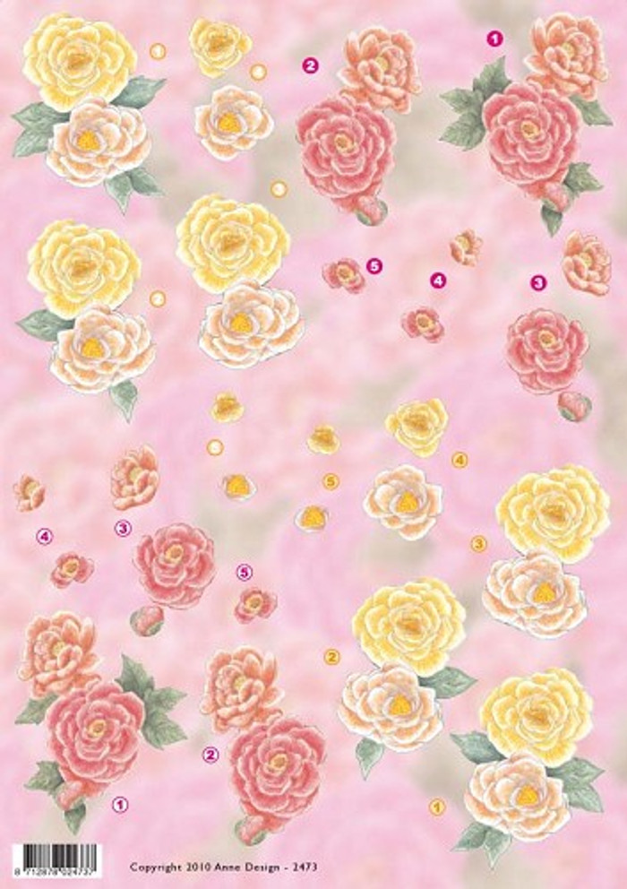 3D Sheet Anne Design - Yellow and Red Flowers  VBK2473