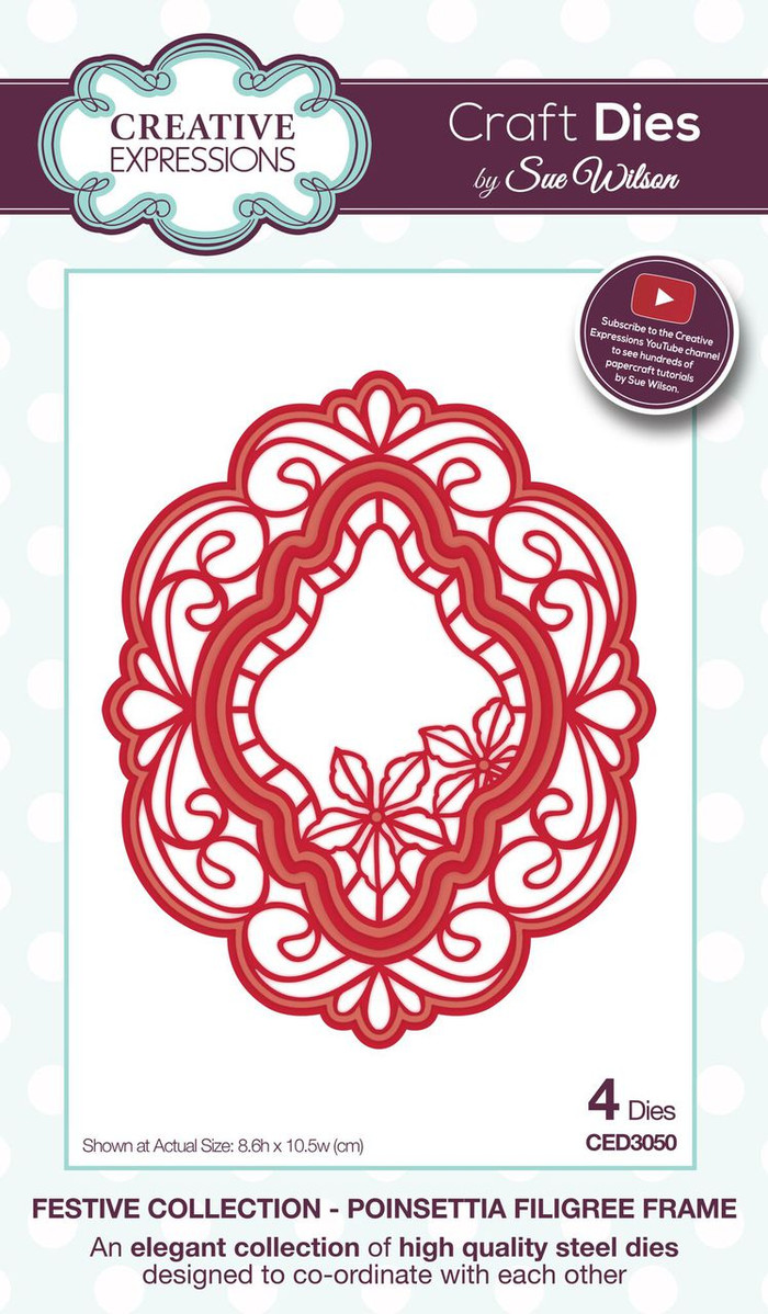 Sue Wilson - The Festive Collection - Poinsettia Filigree Frame CED3050 - Pre-Order 15% Off