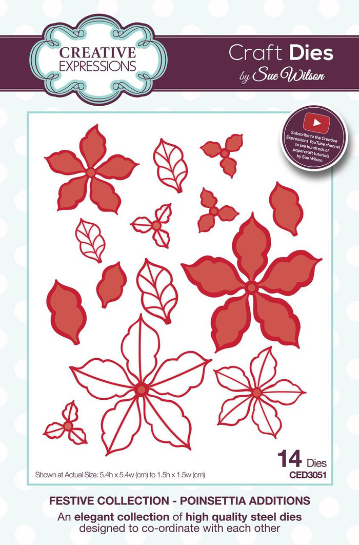 Sue Wilson - The Festive Collection - Poinsettia Additions CED3051 - Pre-Order 15% Off