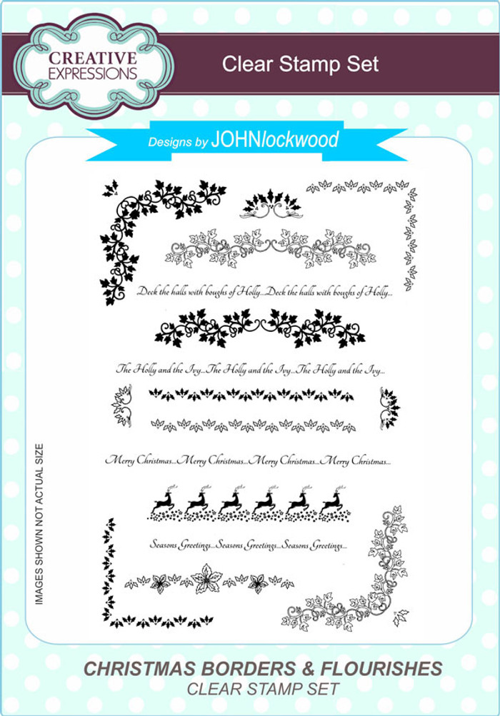 Creative Expressions Christmas Borders & Flourishes A5 Clear Stamp Set by John Lockwood CEC796 - Pre-Order 15% Off