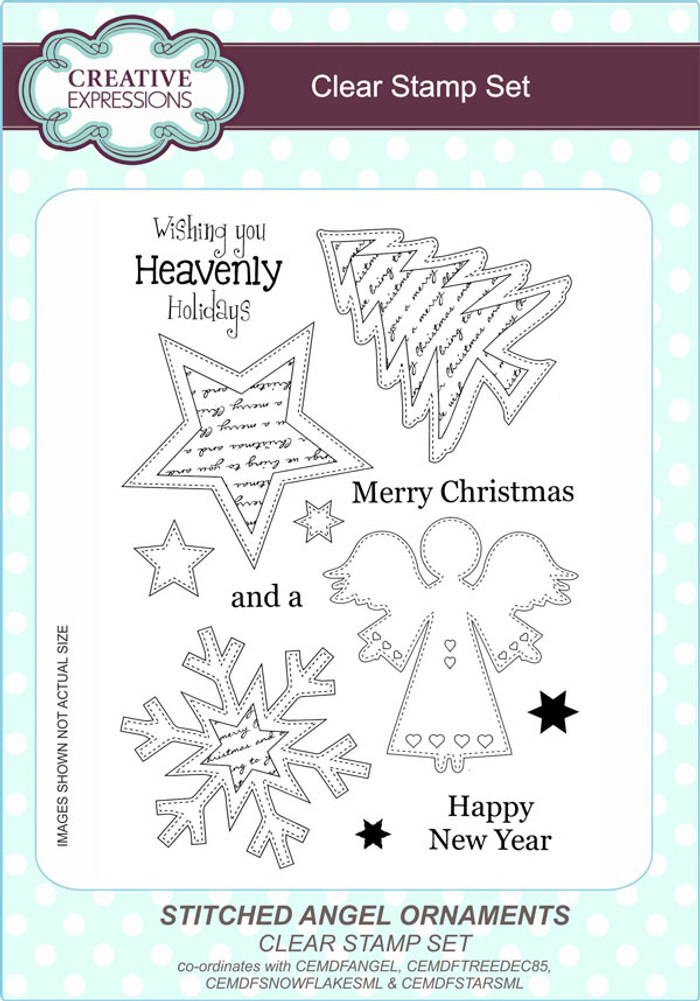 Creative Expressions Stitched Angel Ornaments A5 Clear Stamp Set by Lisa Horton CEC794 - Pre-Order 15% Off