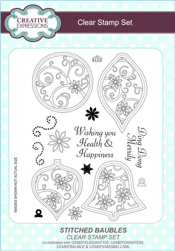 Creative Expressions Stitched Baubles A5 Clear Stamp Set by Lisa Horton CEC793 - Pre-Order 15% Off