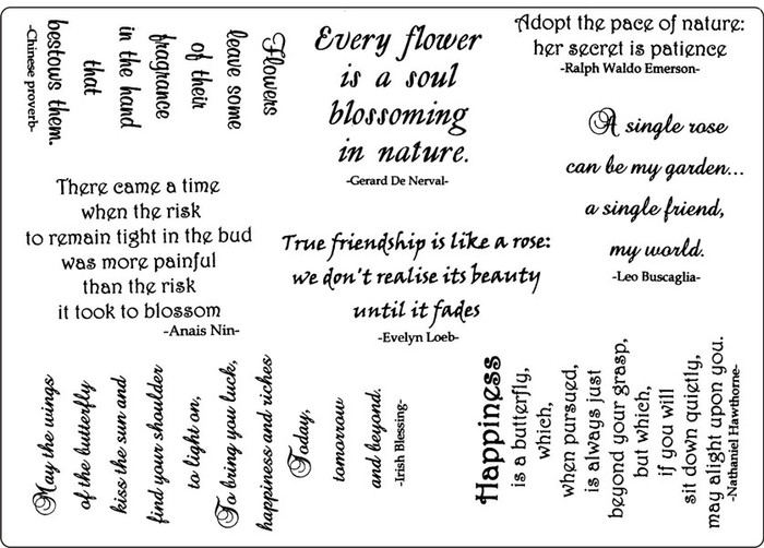 Creative Expressions A5 Unmounted Stamp Plate - Garden Sayings  8 Stamps Pre-Order 15% Off