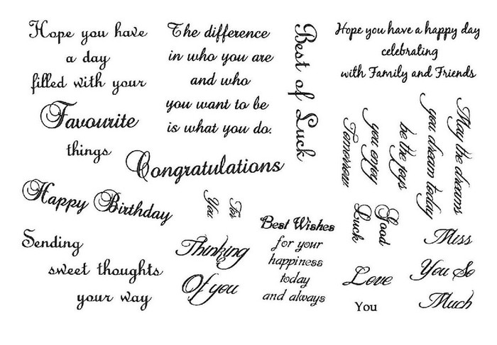 Creative Expressions A5 Unmounted Stamp Plate - Sweet Thoughts Sentiments - 14 Stamps Pre-Order 15% Off
