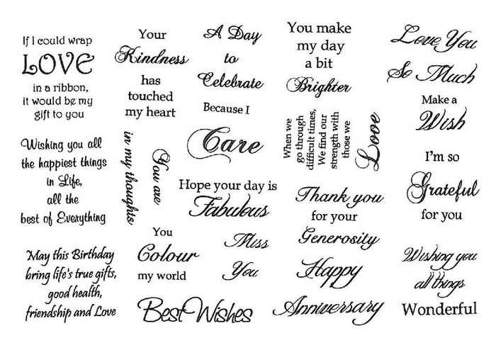 Creative Expressions A5 Unmounted Stamp Plate - Celebrations Sentiments - 20 Stamps Pre-Order 15% Off