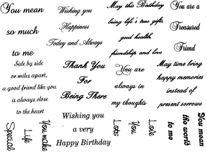 Creative Expressions A5 Unmounted Stamp Plate - True Thoughts Sentiments - 12 Stamps Pre-Order 15% Off