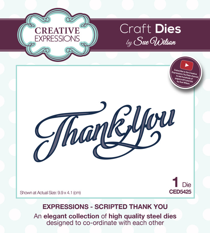 Sue Wilson - Expressions Collection Scripted Thank You Die CED5425 - Pre-Order 15% Off