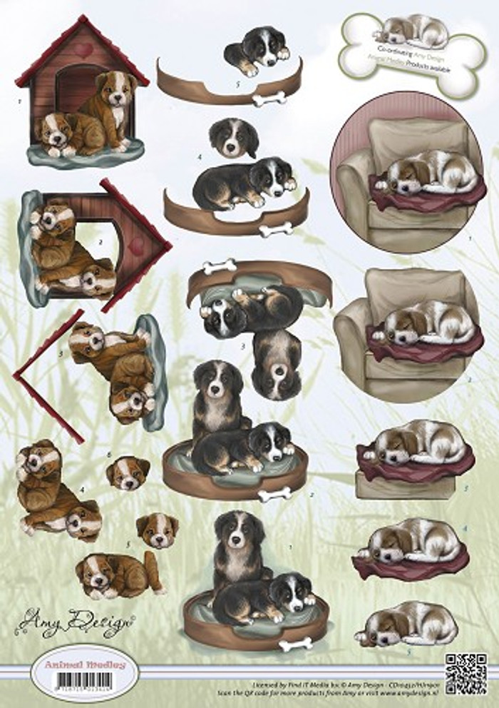 Amy Design 3D Sheet Animal Medley A Man's Best Friend