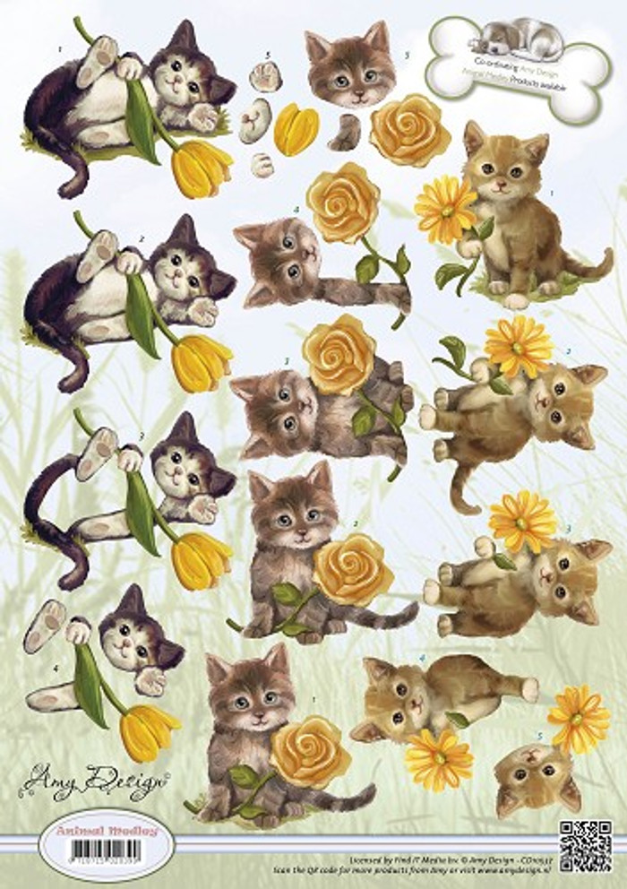 Amy Design 3D Sheet Animal Medley Kittens