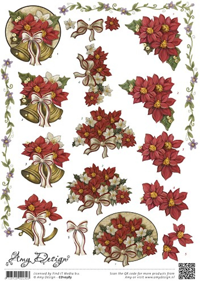Amy Design 3D Sheet Poinsettia CD10583