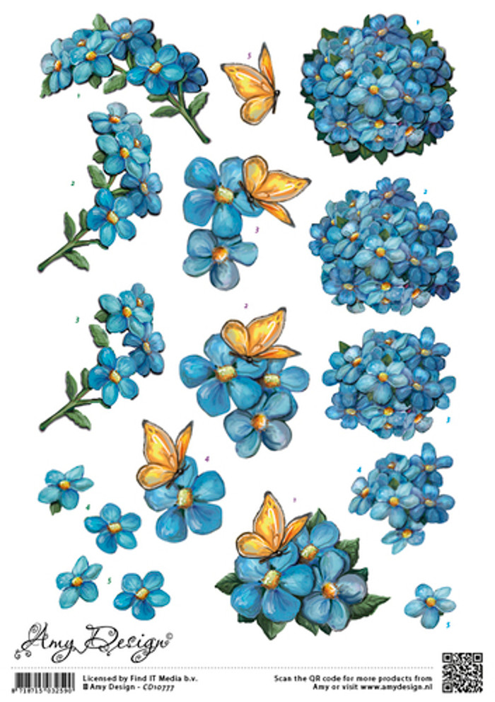 Amy Design 3D Sheet Blue Flowers CD10777