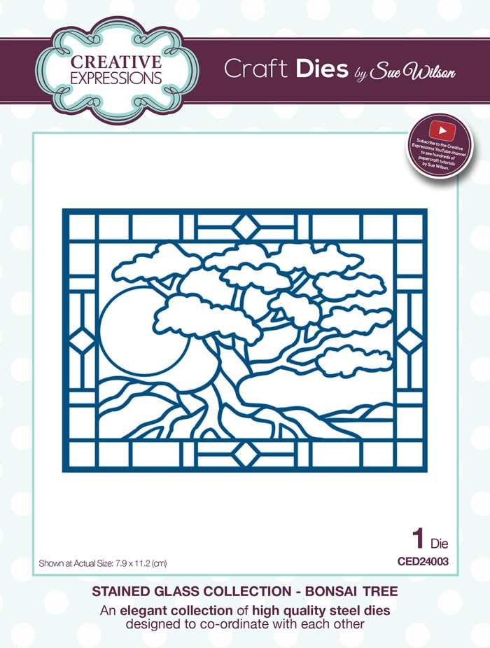 Sue Wilson Stained Glass Collection Dies - Bonsai Tree CED24003