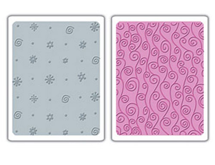 Sizzix Textured Impressions Embossing Folder 2 Pack - DOTS FLOWERS AND SWIRLY VINE SET