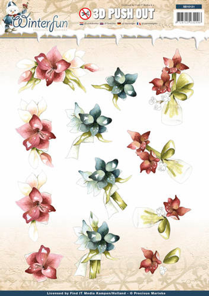 3D Die-Cut Sheet Precious Marieke  Winterflower SB10131