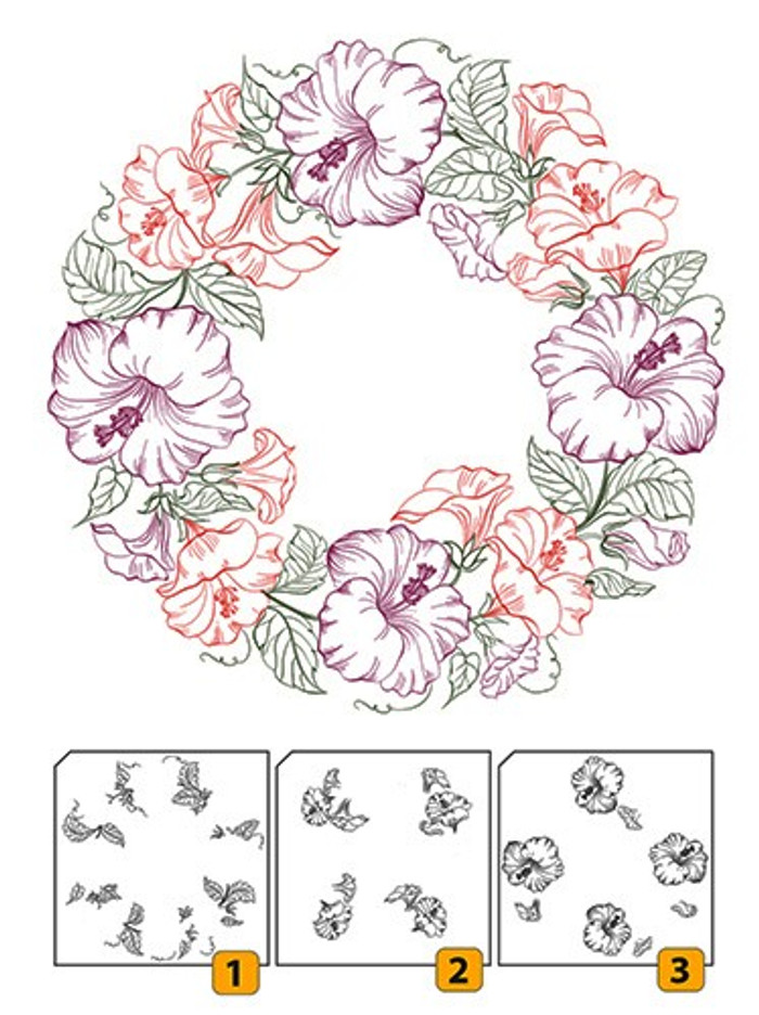 Nellies Choice Layered Clear Stamps - Flower Wreath 1  LCS001