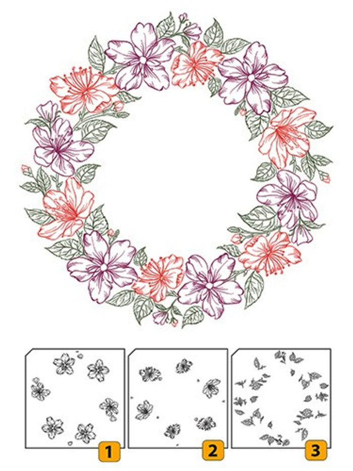 Nellies Choice Layered Clear Stamps - Flower Wreath 2  LCS002
