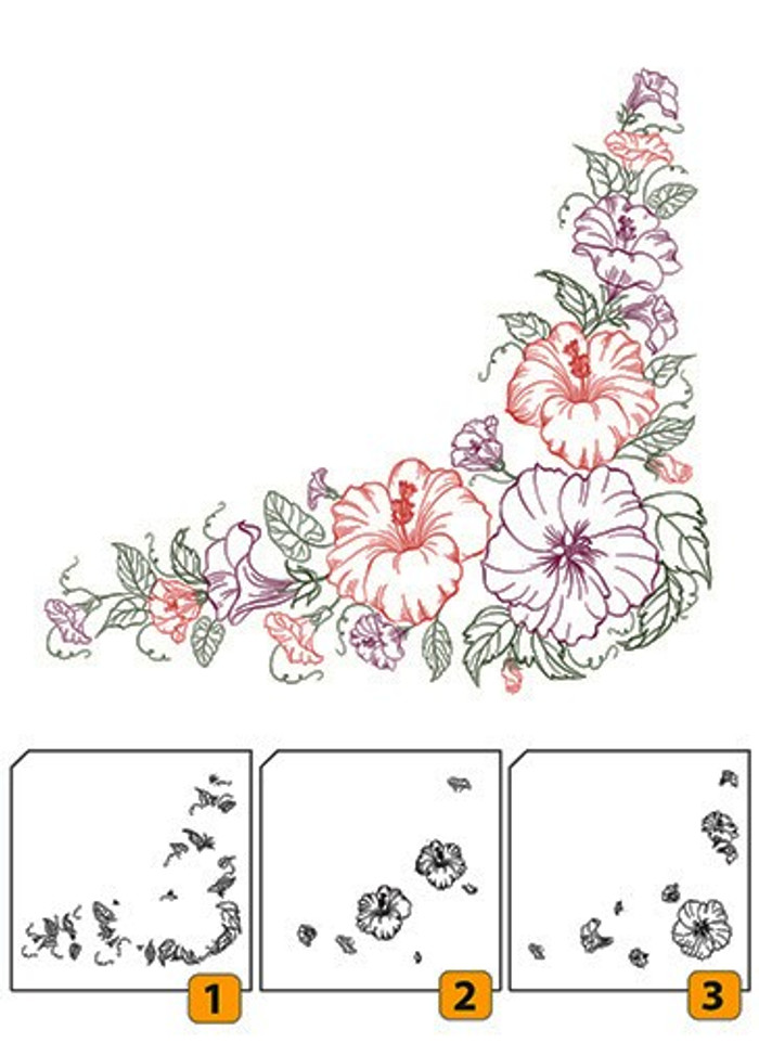 Nellies Choice Layered Clear Stamps - Flower Corner 1  LCS004