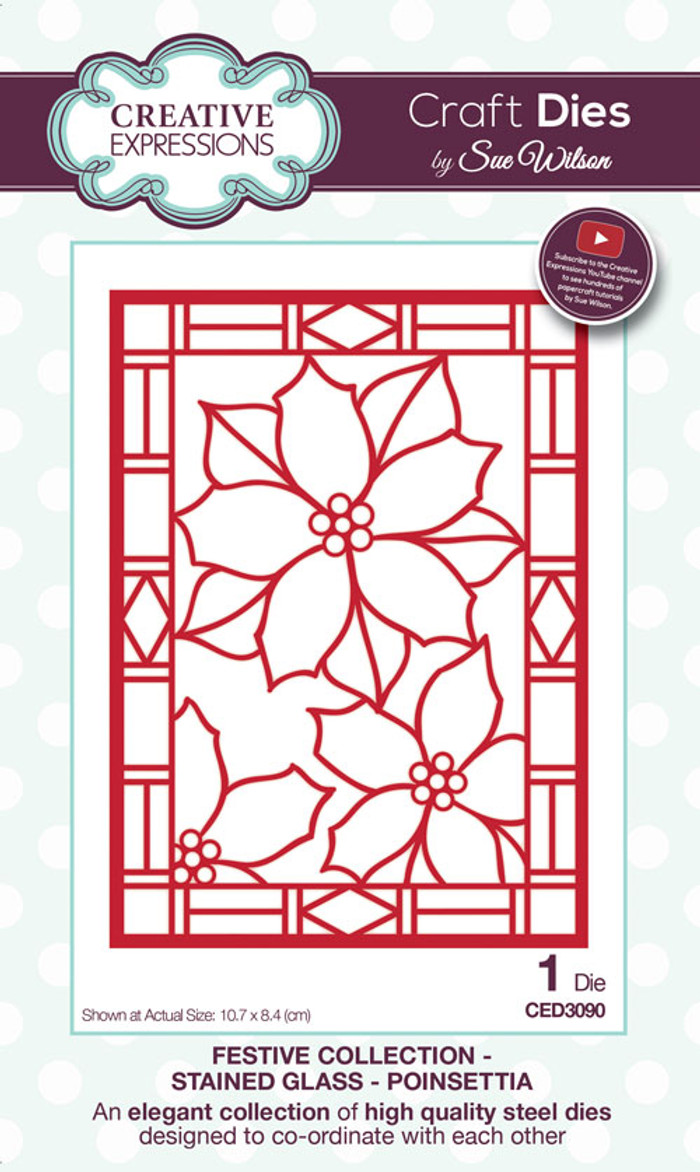 Sue Wilson Festive Collection - Stained Glass Poinsettia CED3090