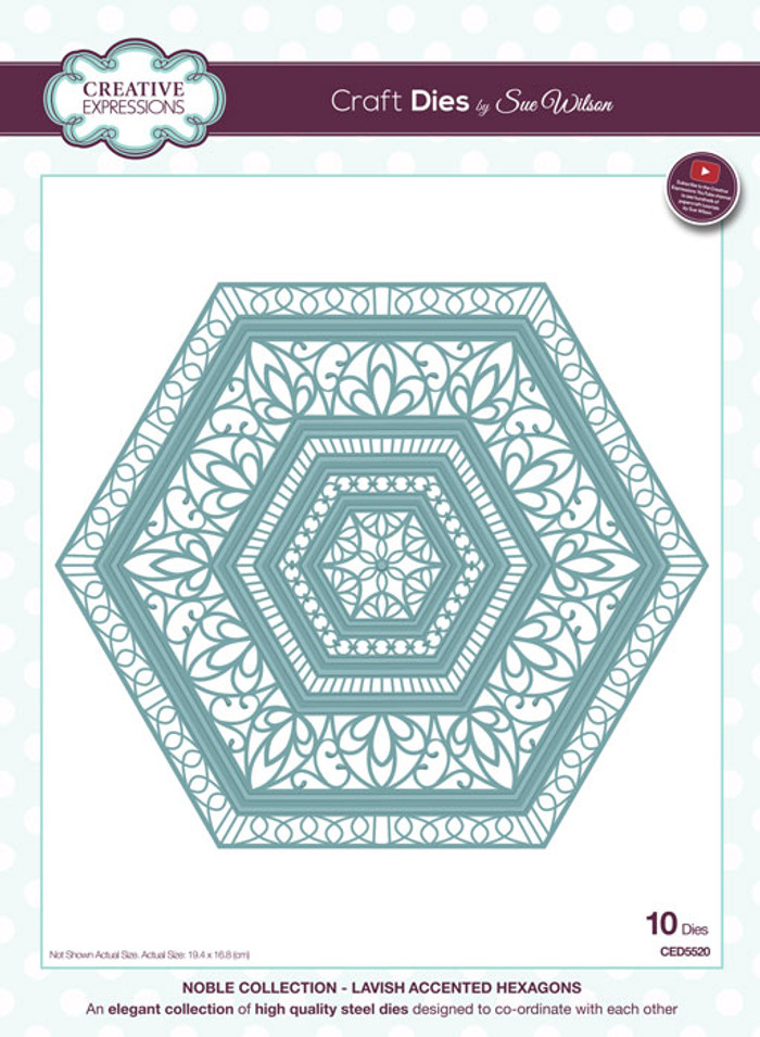 Sue Wilson Noble Collection Dies - Lavish Accented Hexagons CED5520