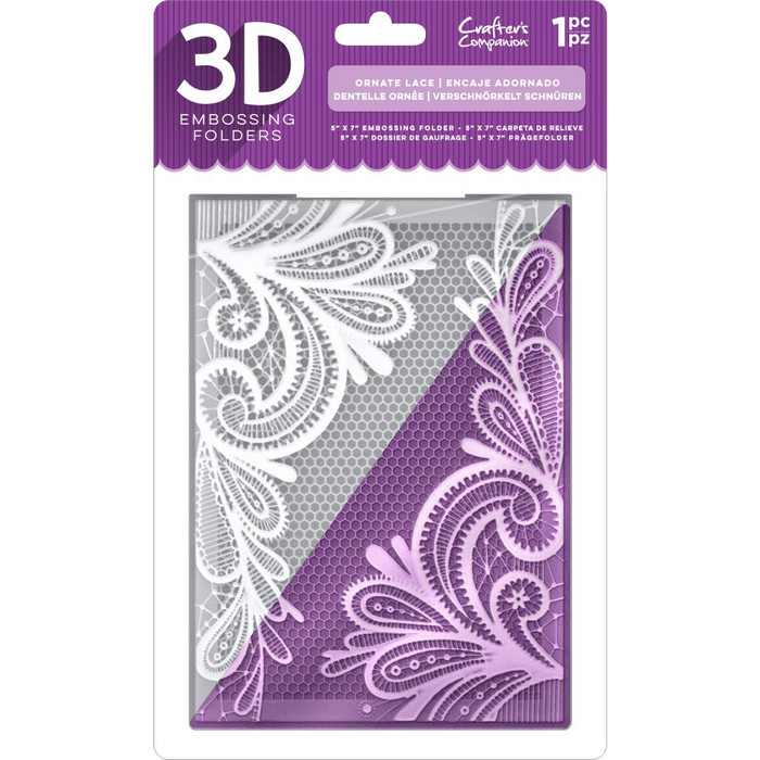 "Crafter's Companion 3D Embossing Folder 5"" x 7"" - Ornate Lace"