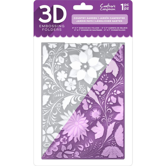 "Crafter's Companion 3D Embossing Folder 5"" x  7""- Country Garden"
