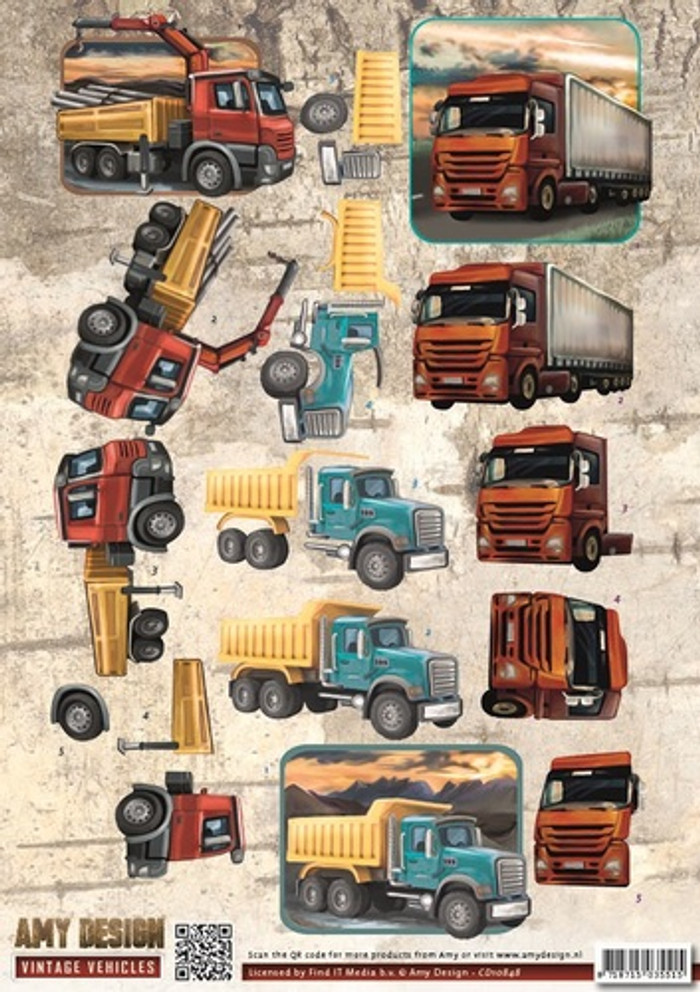 3D Sheet Amy Design  - Vintage Vehicles - Trucks CD10848