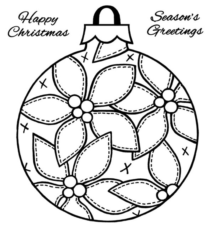 Woodware Clear Stamp - Patch Poinsettia Bauble FRS192