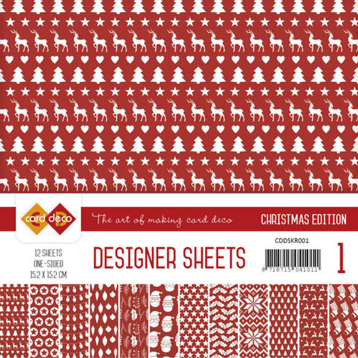 Card Deco Designer Sheets - Christmas Edition - Red