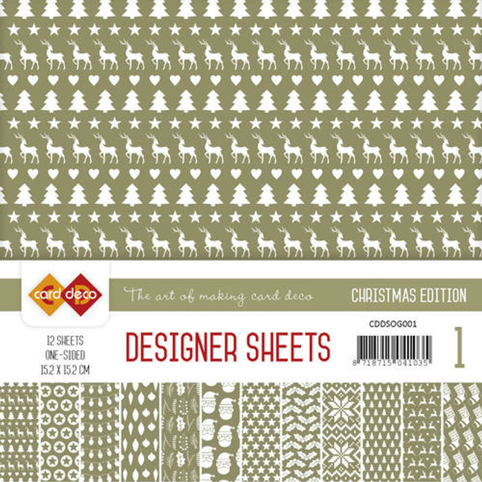 Card Deco Designer Sheets - Christmas Edition - Olive Green