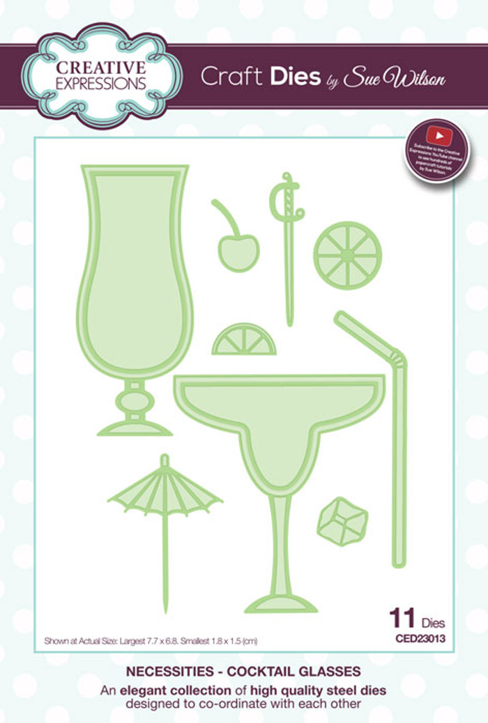Sue Wilson Necessities Collection Dies - Cocktail Glasses CED23013