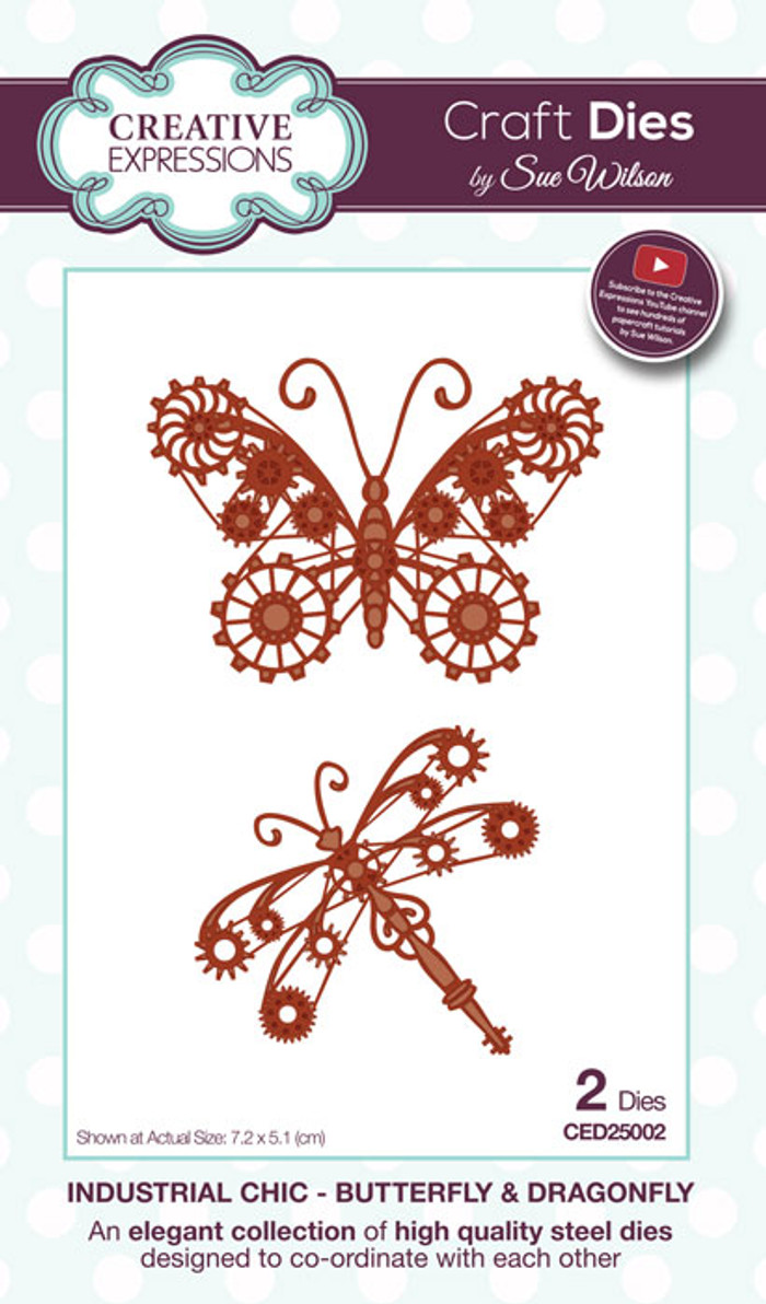 Sue Wilson Industrial Collection Dies - Chic Butterfly & Dragonfly CED25002