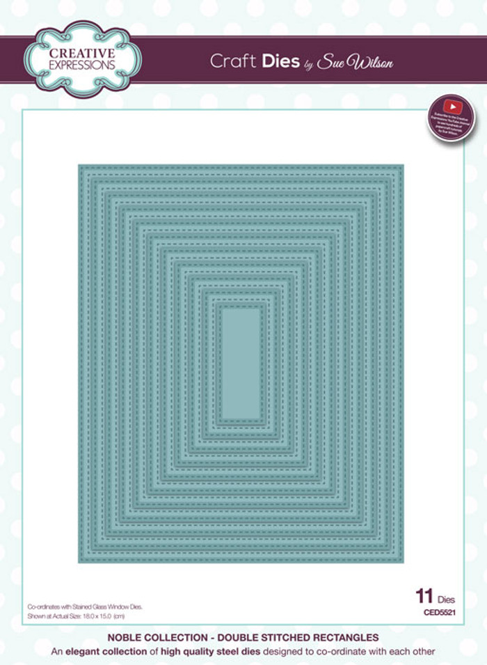 Sue Wilson Noble Collection Die - Stitched Noble Rectangles CED5521