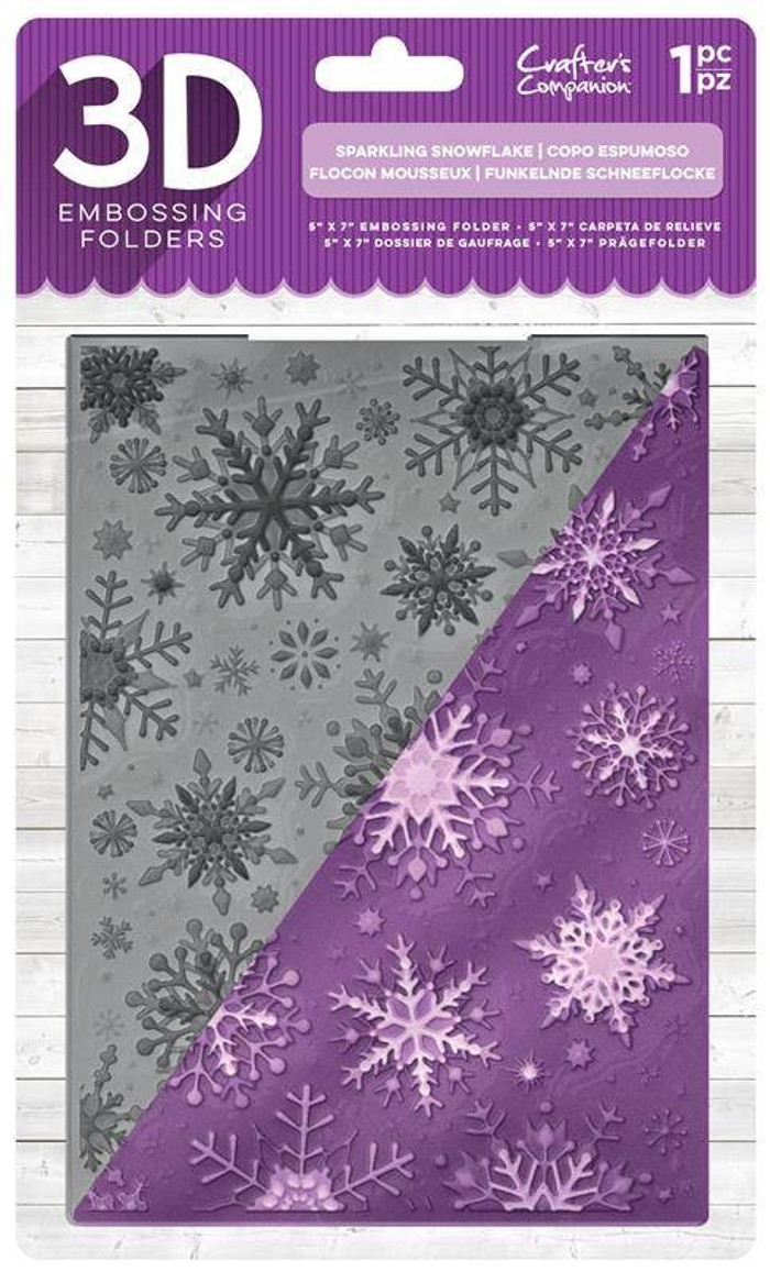 """Crafter's Companion 3D Embossing Folder 5"""" x  7""""-  Sparkling Snowflake"""