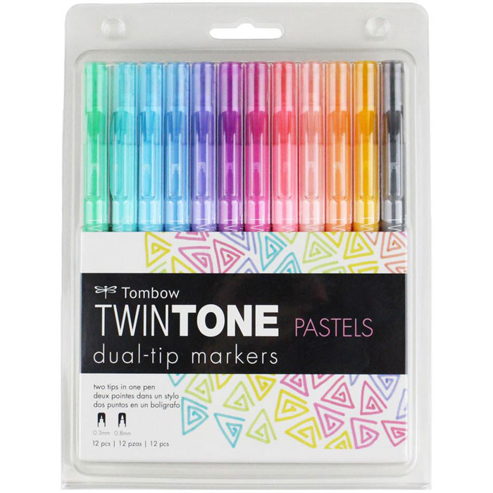 Tombow Twintone Dual Markers - Pastels 12 Set