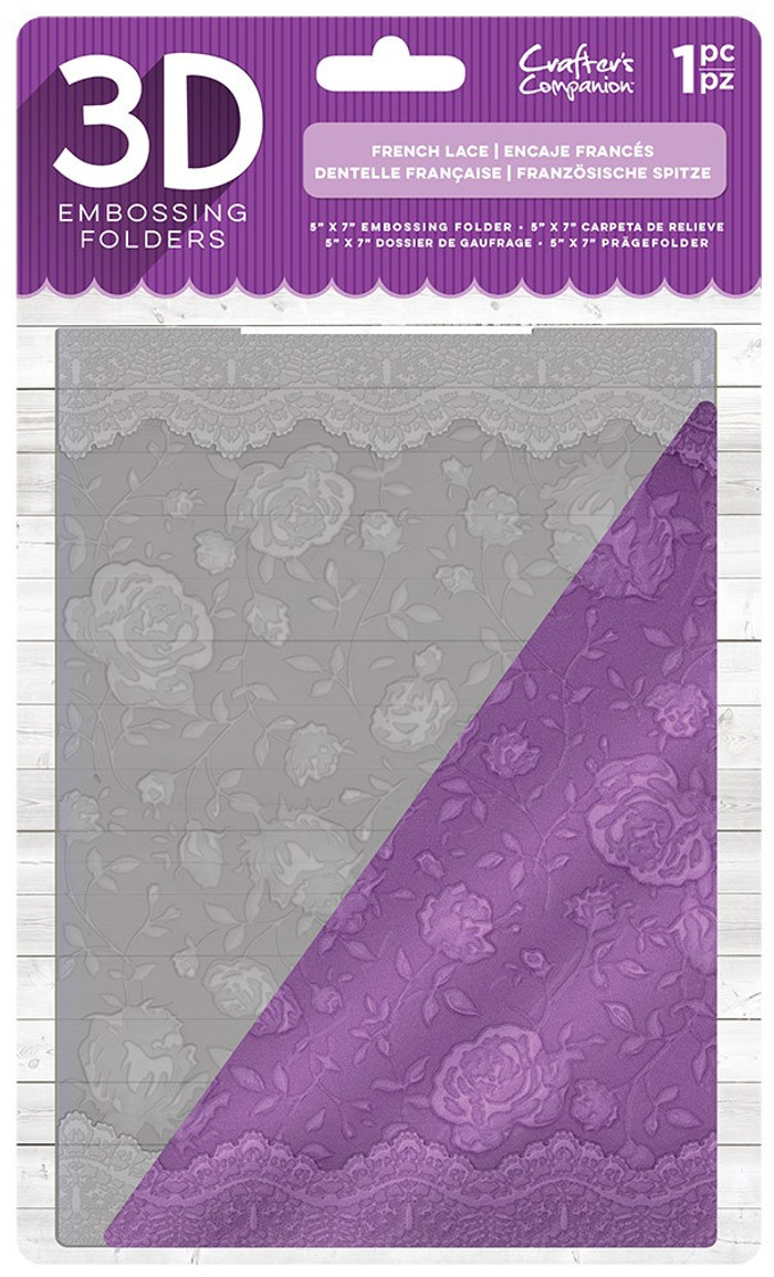 "Crafter's Companion 3D Embossing Folder 5"" x 7""- French Lace"