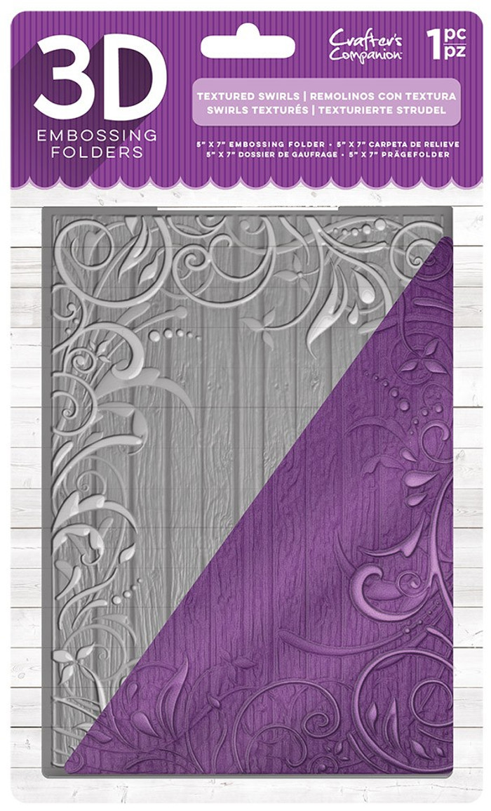 "Crafter's Companion 3D Embossing Folder 5"" x 7""- Textured Swirls"