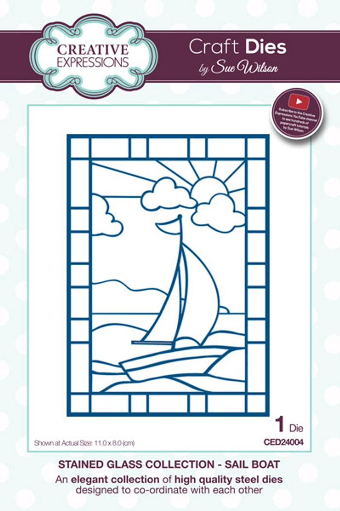 Sue Wilson Stained Glass Collection Dies - Sail Boat CED24004