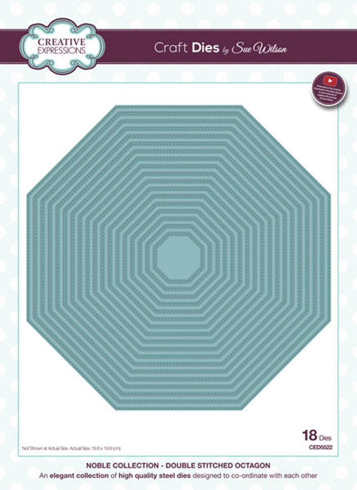 Sue Wilson Clean & Simple Dies - Double Stitched Octagon CED5522