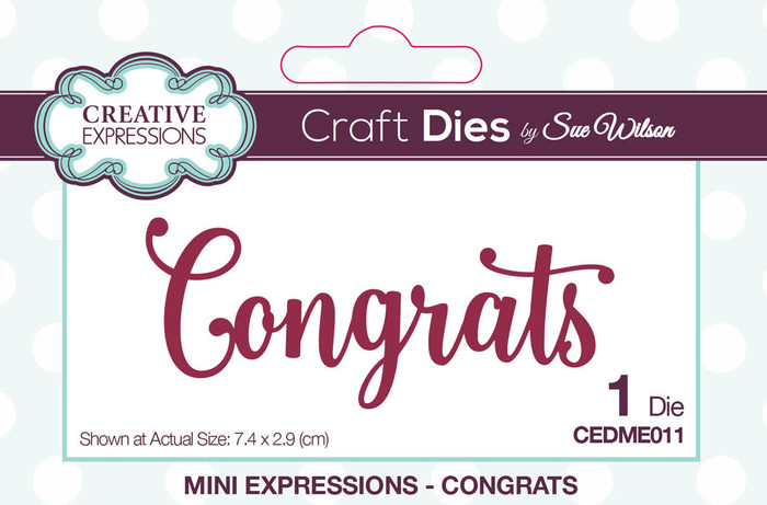 Sue Wilson Mini Expressions Collection Die - Congrats CEDME011
