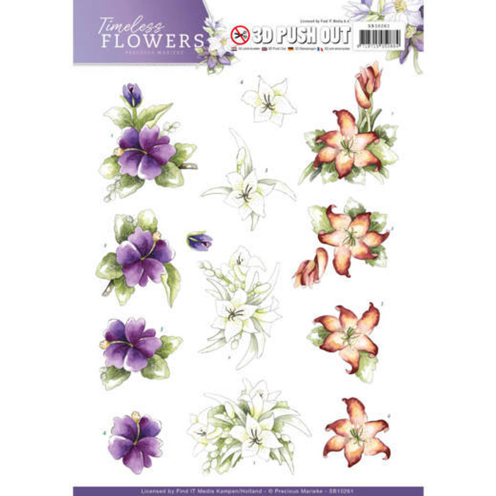 3D Die-Cut Sheet Precious Marieke  - Timeless Flowers - Lillies SB10261