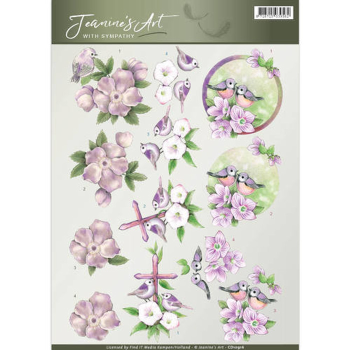 3D Cutting Sheet Jeanines Art - With Sympathy Birds & Flowers  CD10916
