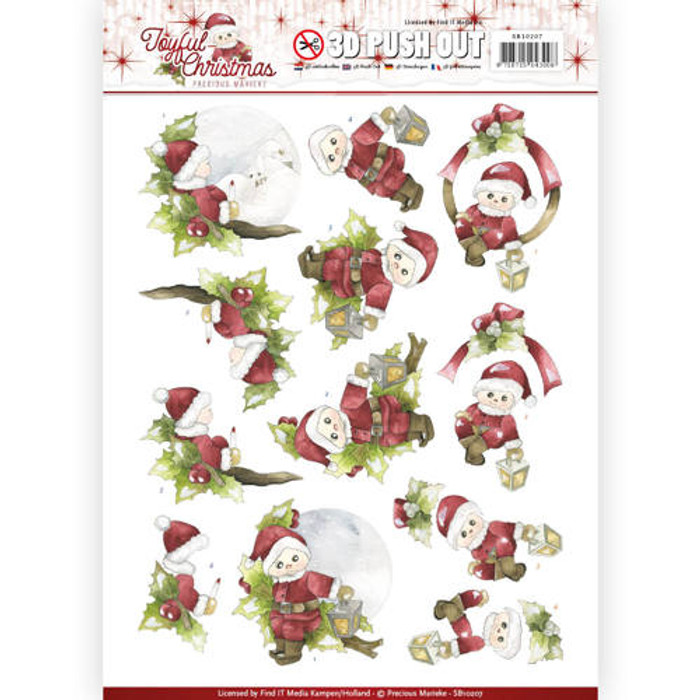 3D Die-Cut Sheet Precious Marieke  - Joyful Christmas - Santa on a Branch SB10207