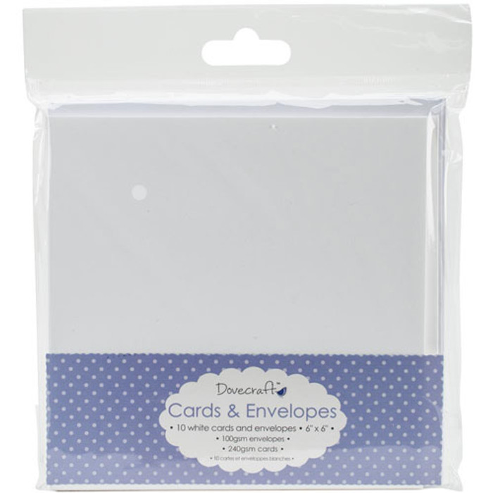 """Dovecraft Cards & Envelopes 6"""" x 6"""" - White 10 Pack DCCE025"""