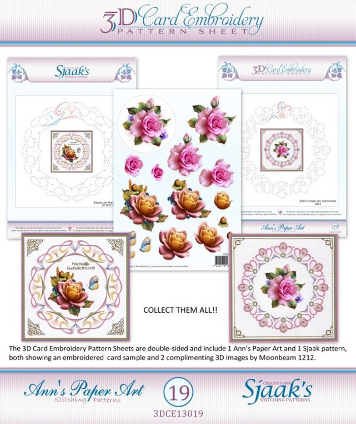 Ann's Paper Art 3D Card Embroidery Pattern Sheet #19 with Ann & Sjaak