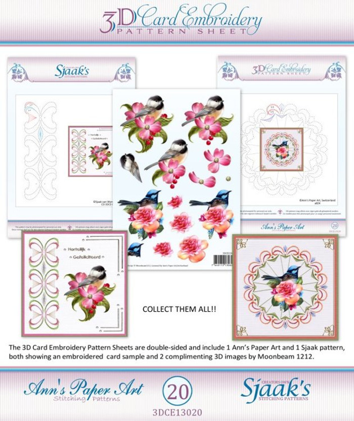 Ann's Paper Art 3D Card Embroidery Pattern Sheet #20 with Ann & Sjaak