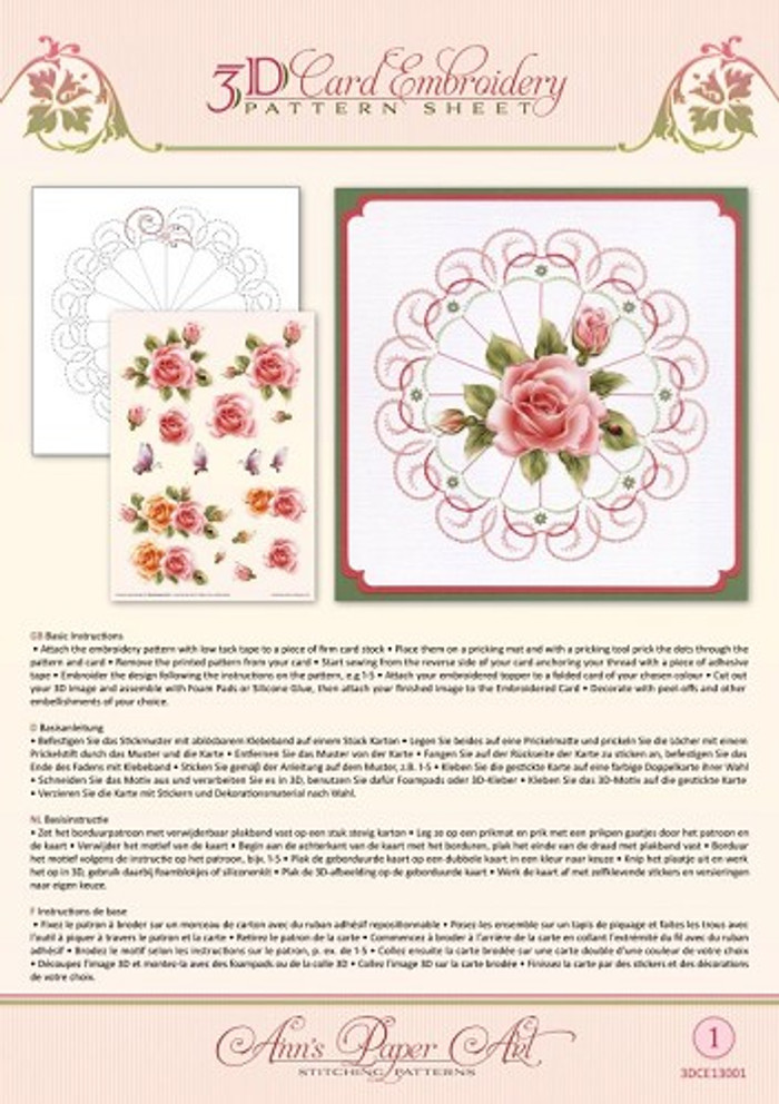 Ann's Paper Art 3D Card Embroidery Pattern Sheet - Rose Glow CE13001