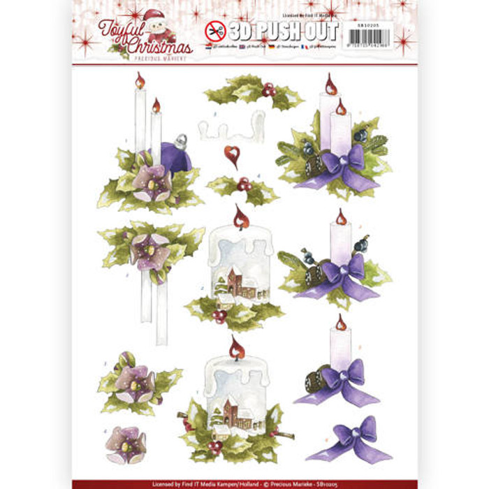 3D Die-Cut Sheet Precious Marieke  - Joyful Christmas - Christmas Candles SB10205